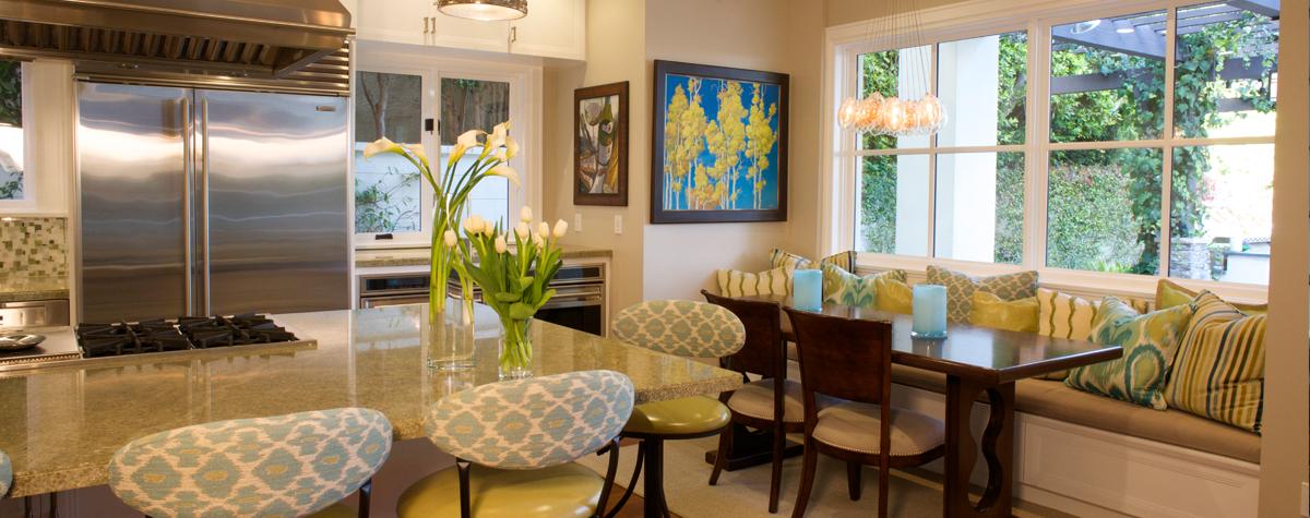 Pacific Palisades kitchen fabrics add interest